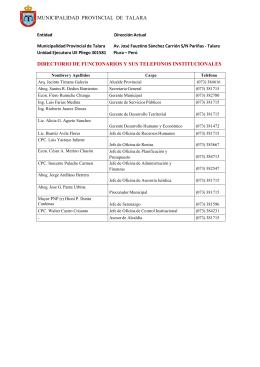 municipalidad provincial de talara directorio de funcionarios y sus