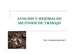 ANALISIS Y MEJORAS DE METODOS DE TRABAJO