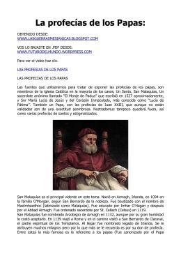 La profecías de los Papas: - Futuro del Mundo