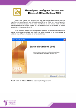 Manual para configurar la cuenta en Microsoft Office Outlook 2003