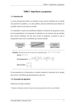 TEMA 1: Algoritmos y programas