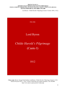 Childe Harold`s Pilgrimage (Canto I)