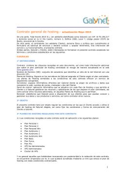 Contrato general de hosting.- actualización Mayo 2015