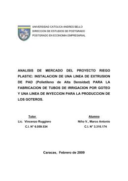 ANALISIS DE MERCADO DEL PROYECTO RIEGO PLASTIC