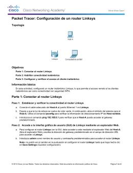 Packet Tracer: Configuración de un router Linksys