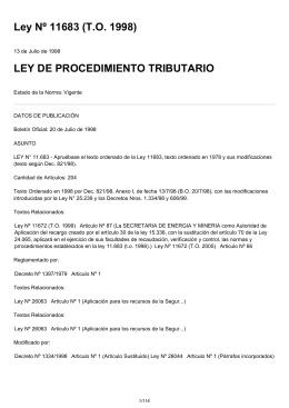 Ley Nº 11683 (T.O. 1998) LEY DE PROCEDIMIENTO TRIBUTARIO