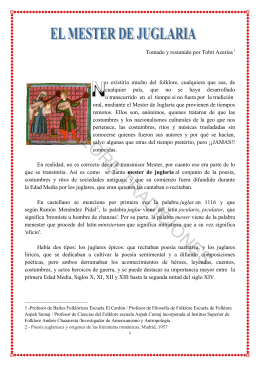 El mester de juglaría - Folklore Tradiciones