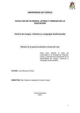 UNIVERSIDAD DE CUENCA FACULTAD DE FILOSOFÍA, LETRAS