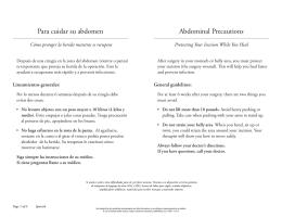 Abdominal Precautions Para cuidar su abdomen