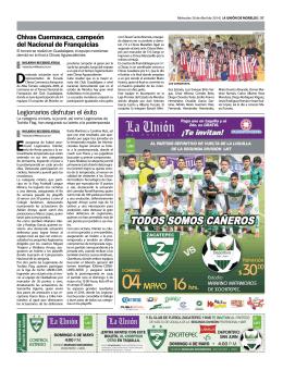 Legionarios disfrutan el éxito Chivas Cuernavaca