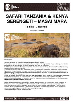 SAFARI TANZANIA & KENYA SERENGETI – MASAI MARA 8 días
