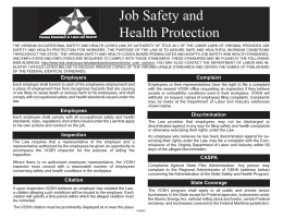 Job Safety and Health Protection