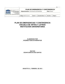 PLAN DE EMERGENCIAS Y CONTINGENCIA ESCUELA DE