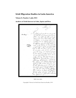 Volume 8, Number 3 - Society for Irish Latin American Studies