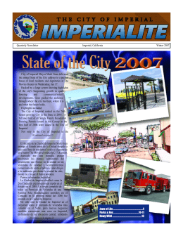 Quarterly Newsletter Imperial, California Winter 2007 City of Imperial