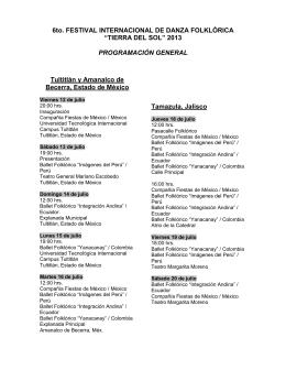 6to. FESTIVAL INTERNACIONAL DE DANZA FOLKLÓRICA