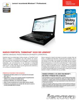 NUEVO PORTÁTIL THINKPAD® X220 DE LENOVO®