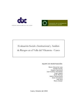 Evaluación Social e Institucional y Análisis de Riesgos en