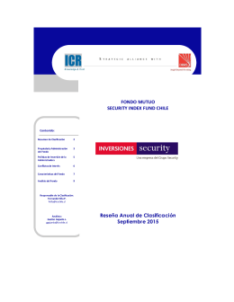 FONDO MUTUO SECURITY INDEX FUND CHILE Reseña Anual de