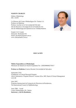 descargar CV Completo - Centro Oftalmológico Dr. Daniel Charles SA