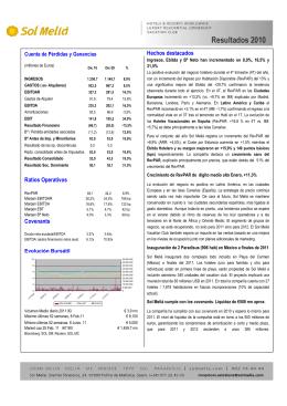 Resultados Anuales 2010 - Meliá Hotels International
