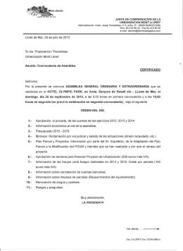 CONVOCATORIA 1 2015 - Urbanización MONT LLORET