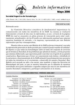 Boletín informativo - Sociedad Argentina de Hematología