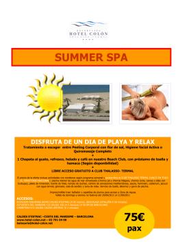SUMMER SPA - HOTEL COLÓN THALASSO TERMAL