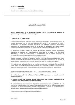 Aplicación Técnica nº 2/2014 Asunto
