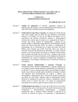 REGLAMENTO CAJA CHICA - Contraloría General de la República