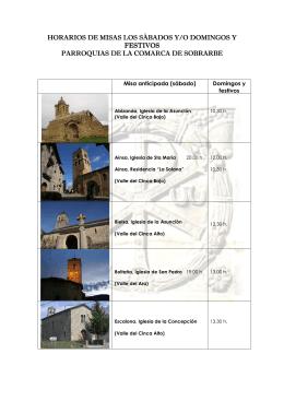 horarios de misas los sábados y/o domingos y festivos parroquias