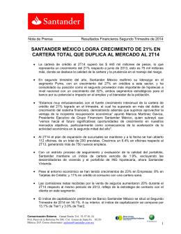 SANTANDER MÉXICO LOGRA CRECIMIENTO DE 21% EN
