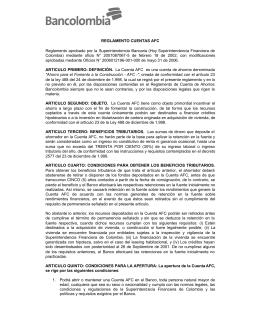 REGLAMENTO CUENTAS AFC Reglamento