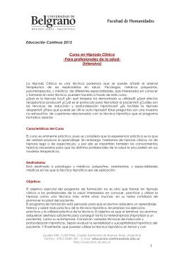 Hipnosis Clinica - Universidad de Belgrano