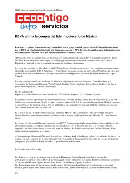 BBVA ultima la compra del líder hipotecario de México