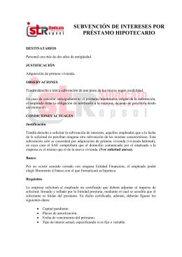 SUBVENCIÓN DE INTERESES POR PRÉSTAMO HIPOTECARIO