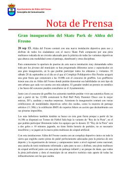 Nota de prensa, Gran inauguración del Skate Park