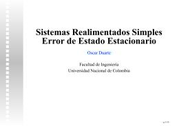 Sistemas Realimentados Simples Error de Estado