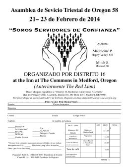 """Somos Servidores de Confi anza"" 21– 23 de Febrero de 2014"