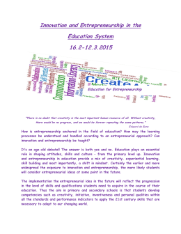 Innovation and Entrepreneurship in the Education System 16.2