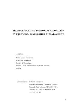 TROMBOEMBOLISMO PULMONAR: VALORACIÓN EN
