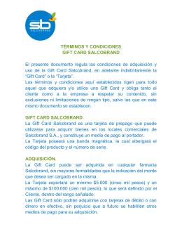 TÉRMINOS Y CONDICIONES GIFT CARD SALCOBRAND El
