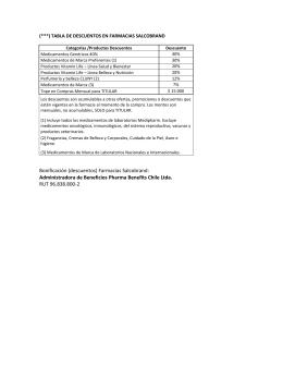 Bonificación (descuentos) Farmacias Salcobrand: Administradora