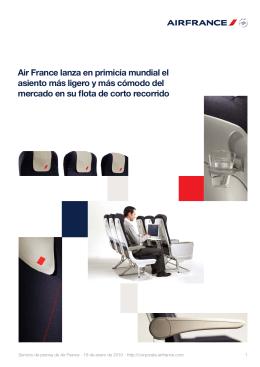 Air France lanza en primicia mundial el asiento más ligero y más