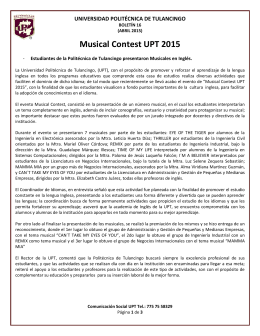 Musical Contest UPT 2015 - Universidad Politécnica de Tulancingo