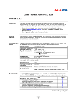 Carta Técnica AdminPAQ 2006 Versión 3.5.2