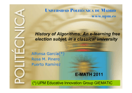 History of Algorithms: An e-learning free election subjet, in a