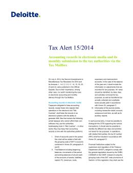 Tax Alert 15/2014