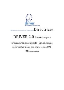 DRIVER 2.0 Directrices para proveedores de contenido