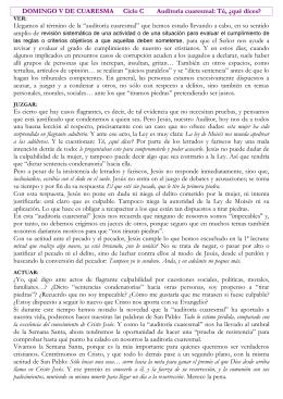 DOMINGO V DE CUARESMA Ciclo C Auditoría cuaresmal: Tú, ¿qué
